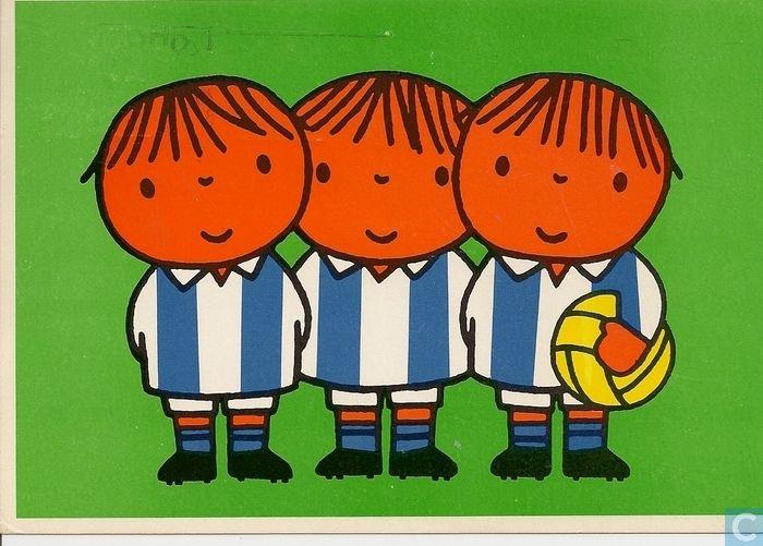 Ansichtkaarten - Kind en de sport - voor het kind - voetballers dick bruna 1977