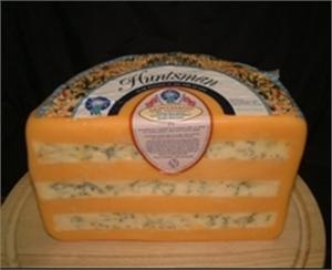 Huntsman cheese is a layer of Stilton between two layers of Double Gloucester cheese. This results in the forceful Stilton flavors complementing the mellow creaminess of the Double Gloucester. $16/lb Ideal Cheese Shop