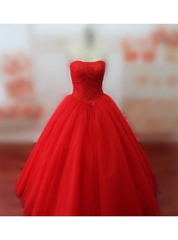 kvinners stroppeløs rød blonder bodice og tyll skjørt prinsesse kjole ballkjole