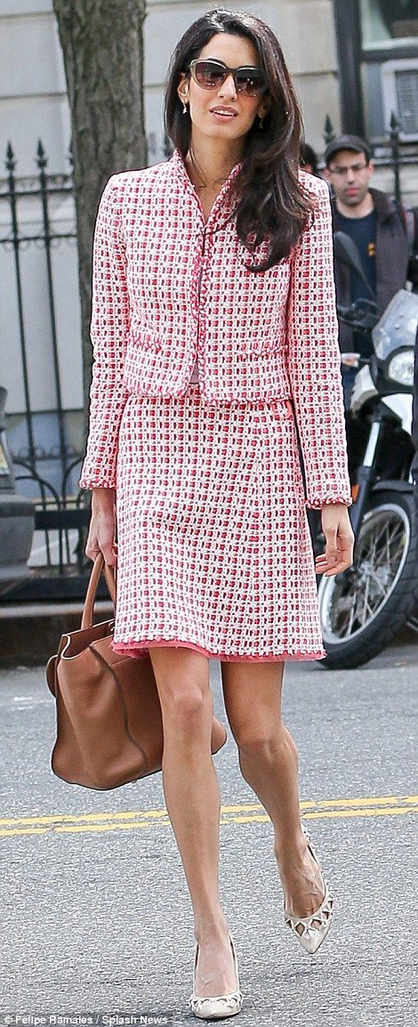 Apr 16: Amal has a new role as visiting lecturer at Columbia Law School. Here she proves to be the most stylish person on campus in her Oscar de la Renta tweed pencil dress (£1,500) and jacket (£1,100) and Heidi London sunglasses (£165) and a Ballin tan bag (£900). Total: £3,665