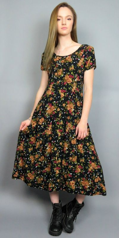 0d2280fa753 Vintage 90s Midi Dress Grunge Black Floral Rose Print All That Jazz 1990s  Short Sleeve Empire Waist Long Flowy A Line Soft Grunge Ditsy by  BlueFridayVintage ...