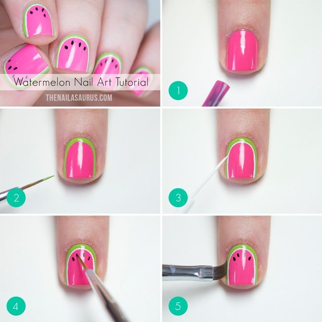 Super Easy Nail Art Ideas for Beginners - Watermelon Nail Art Tutorial - Simple Step By Step DIY Tutorials And Pictures For Nailart. Ideas For Every Style, All Hair Colors, Sparkle, Valentines, And other Awesome Products To Make It DIY and Super Easy - https://www.thegoddess.com/nail-art-ideas-beginners