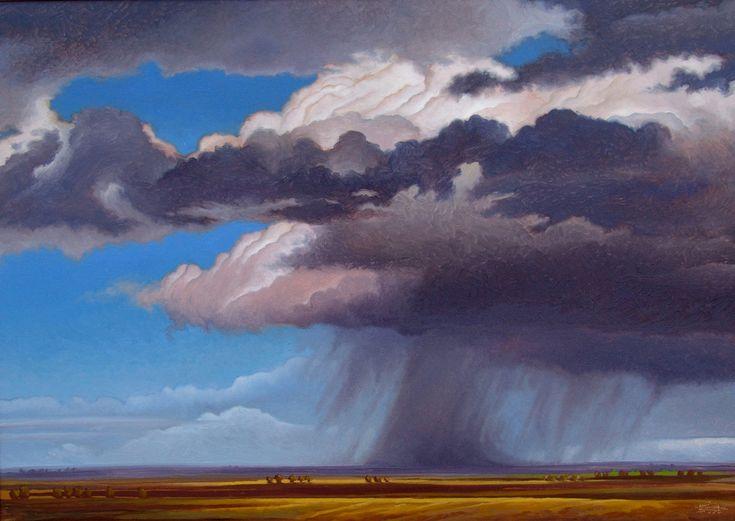 """Ambersmite"" by Jerry Moon Fine Art-Oil-Landscape-Painting-Kansas City, Missouri-Midwest-Sky-Clouds-Storm-Grey-Blue-Dramatic-Rain-Cumulous"