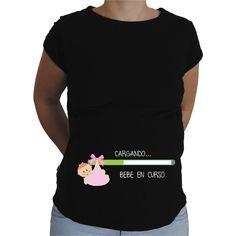 Camiseta para embarazada Divertida - Bebe cargando chica.