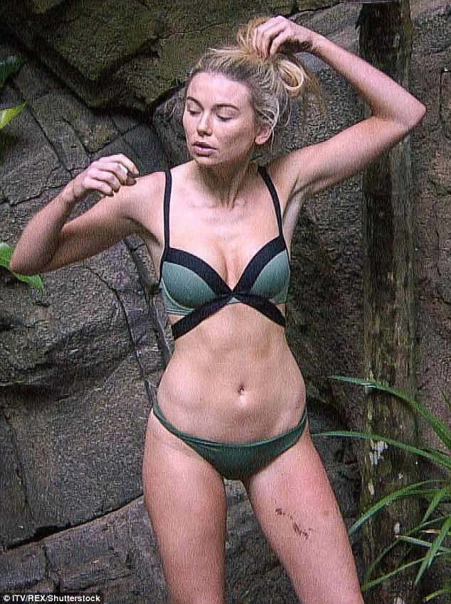 Jungle babe: Toff stripped off her jungle gear and slipped her svelte figure into her green swimwear in the I'm A Celebrity… Get me Out Of Here! shower on Thursday night
