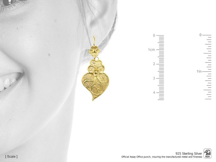 Portuguese Filigree EARRINGS Minhoto Heart (4.5cm) Viana Traditional in 925 Sterling Silver with 24k Gold Bath by NadirFiligree on Etsy