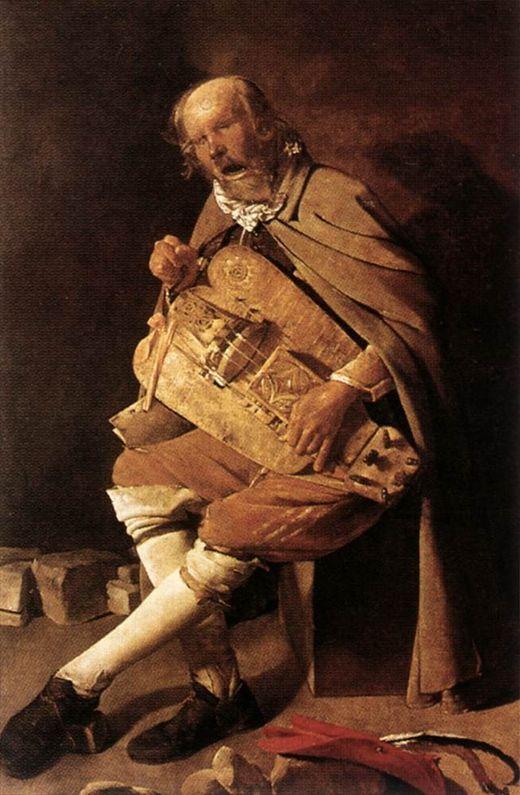<비엘 연주자와 파리> 1640경, 조르주 드 라투르  이 작품은 17세기 전반 프랑스 미술의 한 갈래인 '바로크 풍 사실주의'의 대표작이다. 맹인 비엘 연주자가 무릎 위에 악기를 올려 놓고 연주하며 노래하고 있다. 그의 노래는 한 맺힌 삶의 애환이 녹아 있는 듯 애절하고 절절하다. 아무도 귀 기울이지 않는 누추한 노인의 곡조를 파리 한 마리가 부각하고 있다. 여기서 바로크 음악의 큰 특징 중 하나인 정감론을 엿볼 수 있다. 데카르트의 철학과 맞물려, 음악은 다양한 감정을 표현하기 시작한다. 이 노인은 비록 고급스러운 선율과 악기는 아니지만 자신만의 감정을 음악에 녹여 부른 것이 아닐까. ♪ : http://www.youtube.com/watch?v=tXRYp0Bg8l8