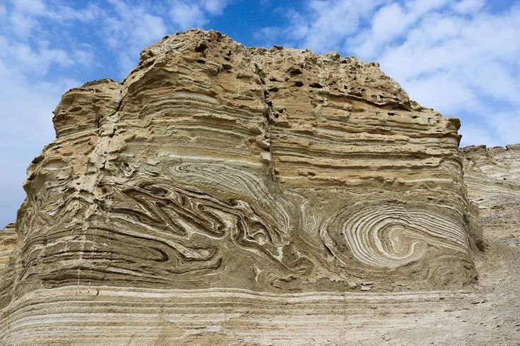 Seismite in the Middle East (Dead Sea?).  Seismites are soft-sediment deformations in units caused by earthquakes near the time of their initial deposition.