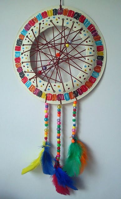 Dream catcher from a paper plate. Easy craft for kids