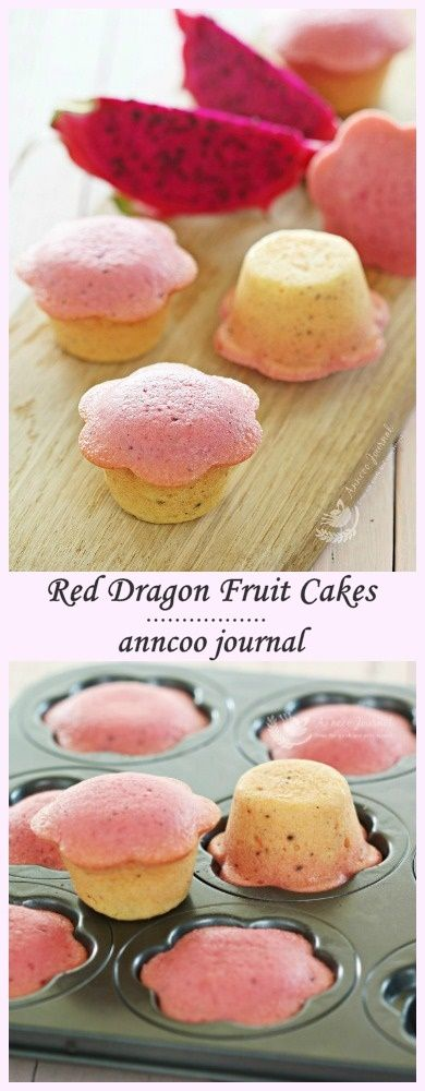 Red Dragon Fruit Cakes. #desserts #dragonfruit