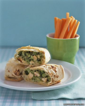Chicken-and-Broccoli Pockets  ~  The healthy ingredients are rolled in a flour tortilla and baked until crisp and golden.