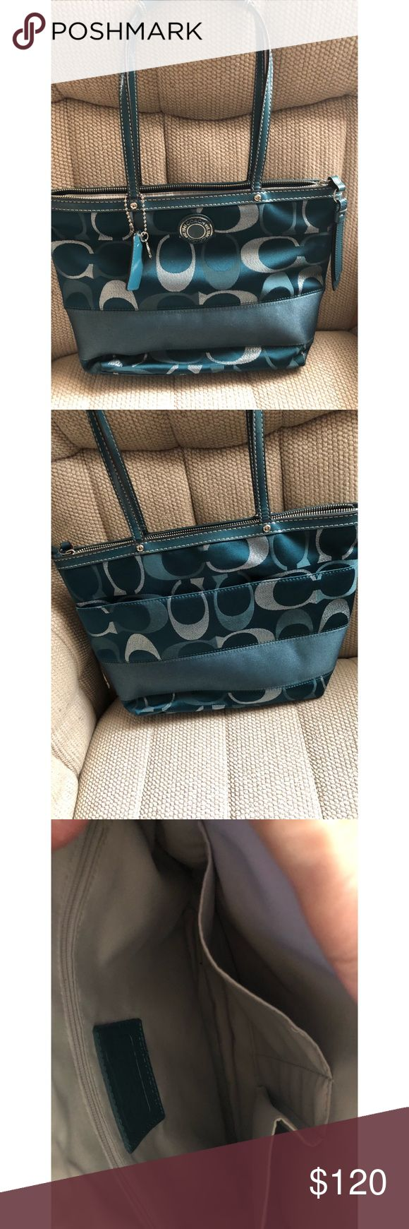 "Coach Signature Medium tote COACH signature stripe 3 colour signature metallic Tote tote bag F20429 SV/U8 teal multi. barely  used like new13"" by 8"" Coach Bags Totes"