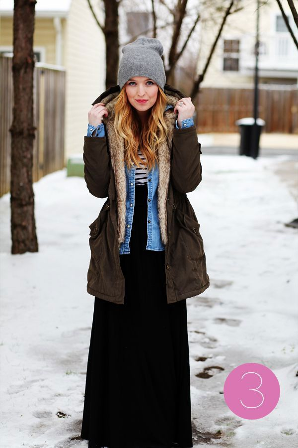 20 Style Tips On How To Wear Maxi Skirts In The Winter ~ #7. Lots of layers are key for staying warm! Wear a chambray shirt open over another shirt with your maxi. And don't forget your winter coat!
