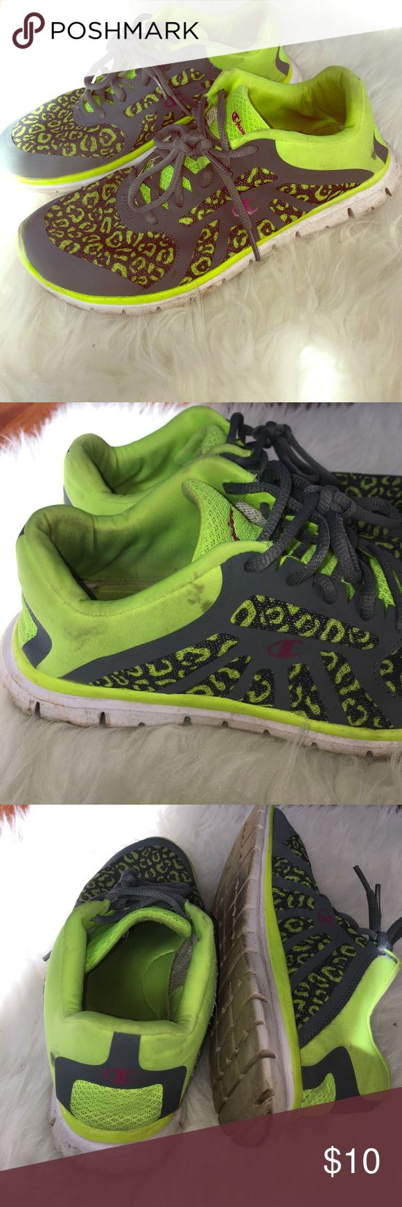 Neon Cheetah Print Gym Sneakers Sz 8 champion Sneakers! Perfect for a long day at work, jogging or the gym. Super comfy, light weight! Nice bright yellow/green color and grey. Cheetah print. Please look at photos for condition- they do have dirt around the top. Champion Shoes Sneakers