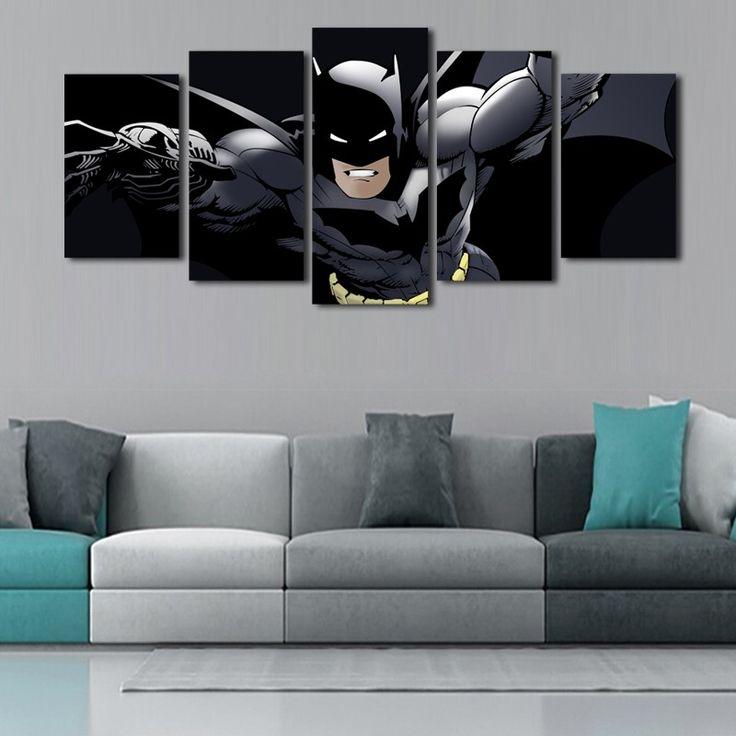 Бэтмен и постер фильма аватар Горячая Продам 5 Панели Современные Стены живопись Home Decor стены Аватар для декора Краски на Холст Печати