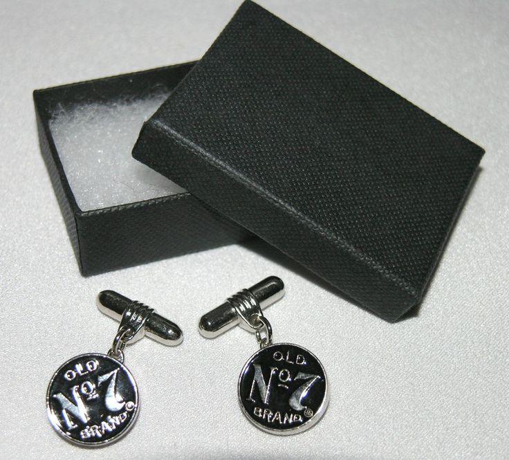 Jack Daniels Old No 7 Brand chain cufflinks black enamel & chrome, new, boxed