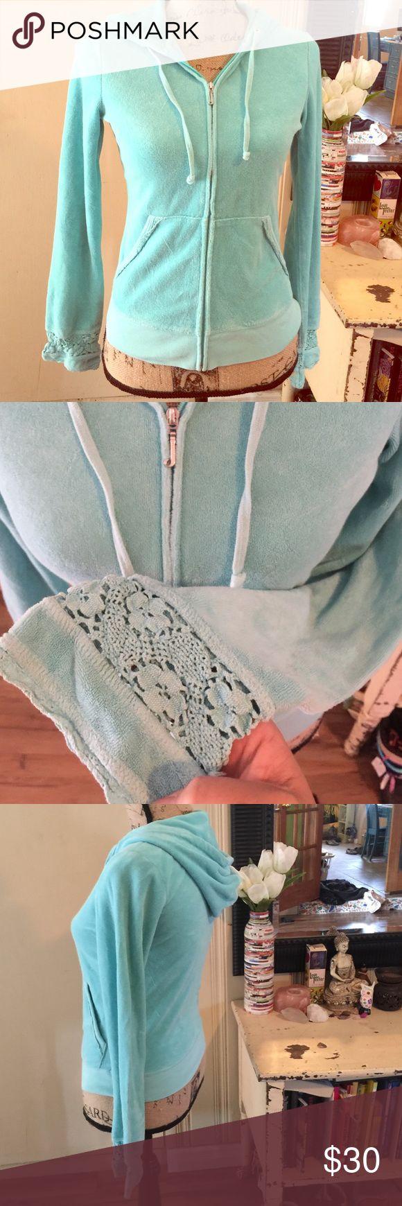 Juicy crochet zip up hoodie Size medium cute hippy style hoodie - fitted style Juicy Couture Tops Sweatshirts & Hoodies