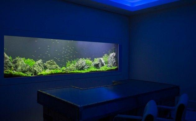 aquarium eirichten design atmosphäre einrichtungsbeispiele wandgestaltung wohnzimmer