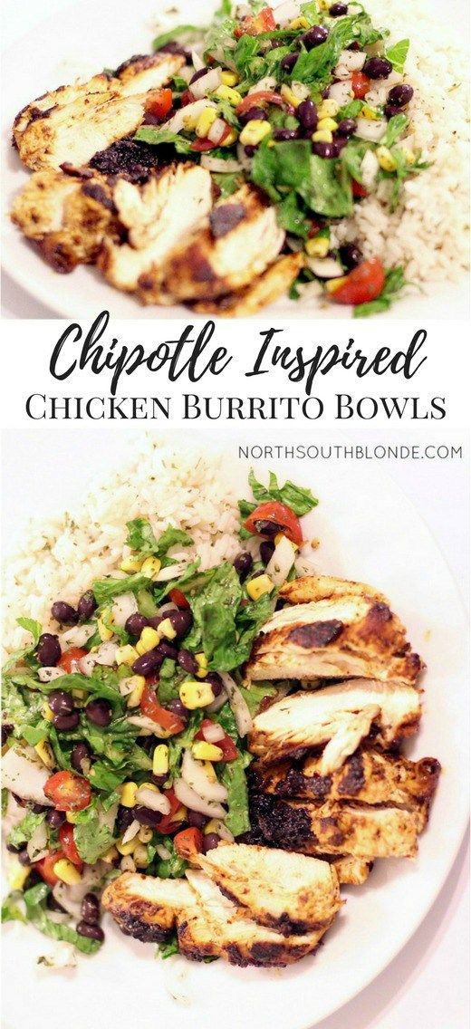 Chipotle Mexican Grill inspired chicken burrito bowls | gluten-free, healthy recipe, eat clean
