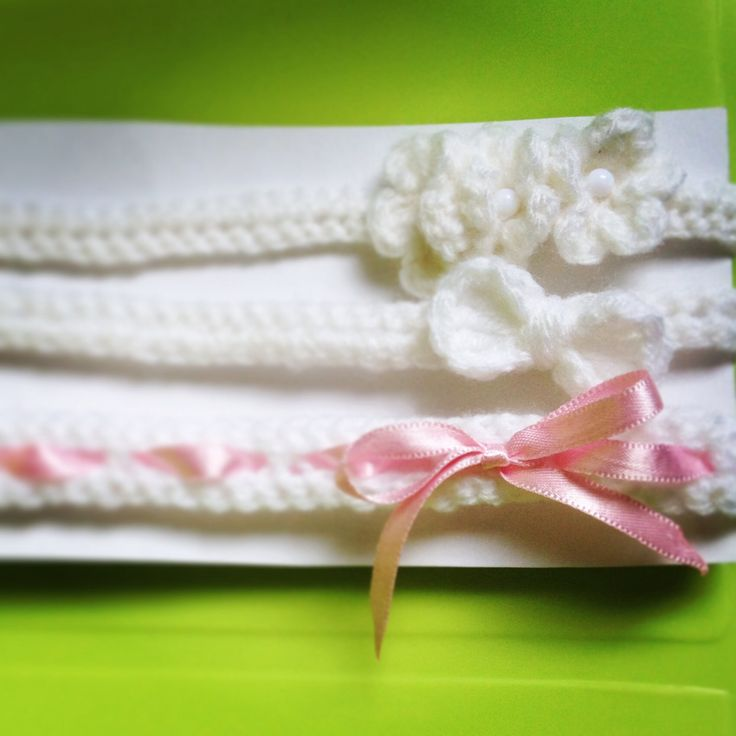 Crocheted Baby headband set with flowers and bows :)
