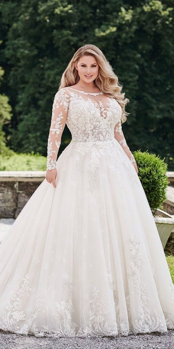 39 Plus Size Wedding Dresses A Jaw Dropping Guide Ball Gowns Wedding Lace Wedding Dress With Sleeves Plus Size Wedding Gowns [ 1349 x 674 Pixel ]