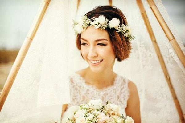 Short hair bride loose hairstyle 2019 When the hair is a little longer at chin