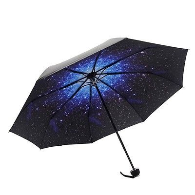 Fashion Folding Windproof Anti UV/Rain Star Sky Women Men Umbrella
