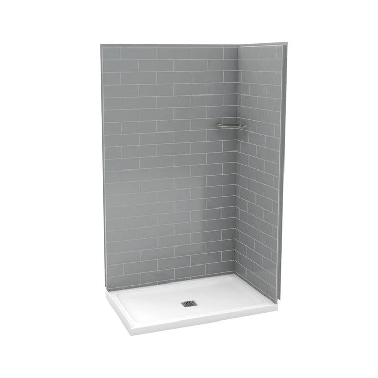 Utile by MAAX 32 in. x 48 in. x 83.5 in. Corner Shower Kit with Base in Metro Ash Grey