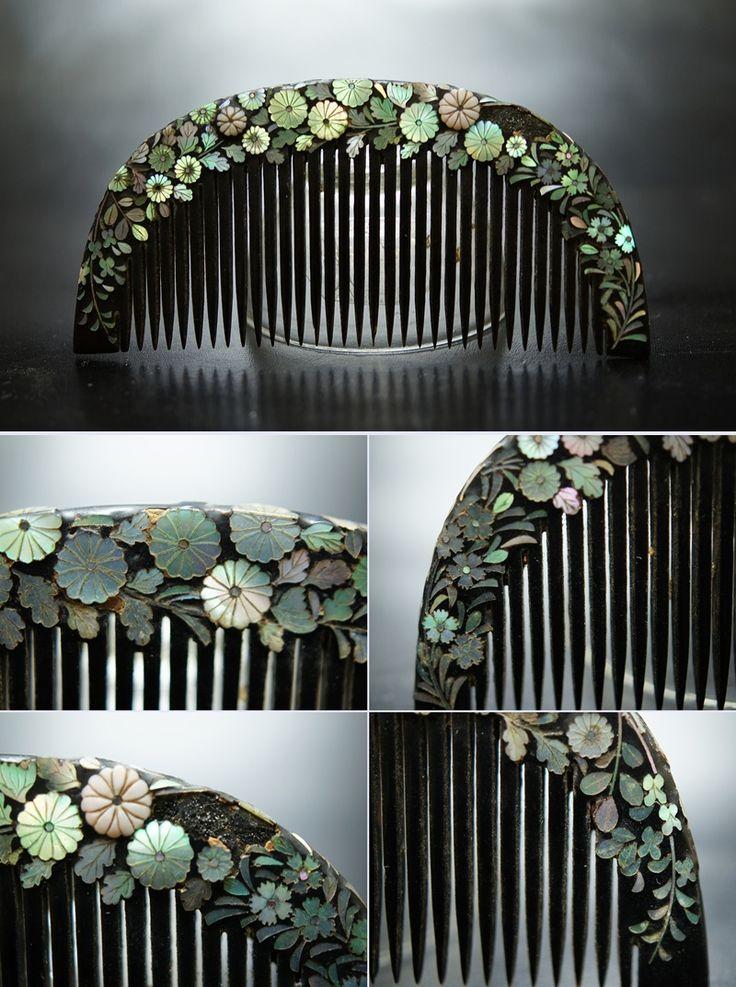 Japanese Antique comb design of Chrysanthemum アンティーク 櫛かんざし 笄 螺鈿 花尽くし揃い