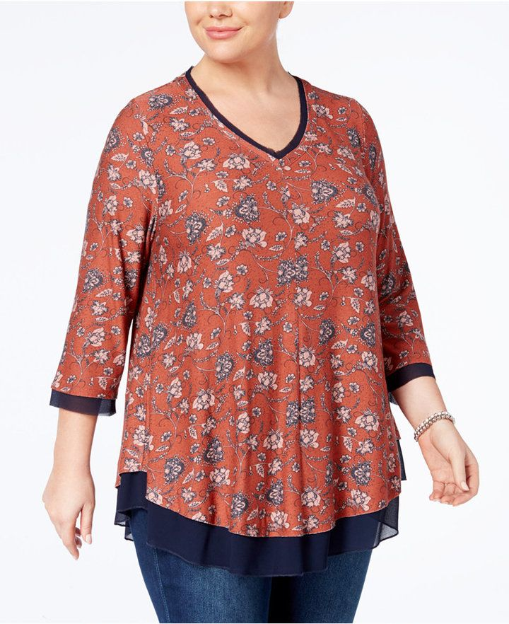 Style&Co. Style & Co Plus Size Layered-Look Swing Top, Created for Macy's