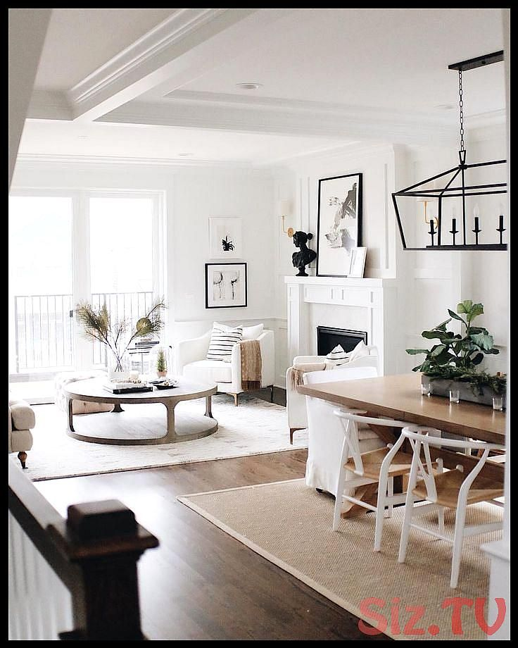 White Wishbone Chairs Wood Dining Table White Walls Dining Room Table Ideas White W Living Room Dining Room Combo Dining Room Combo Living Room Decor Apartment