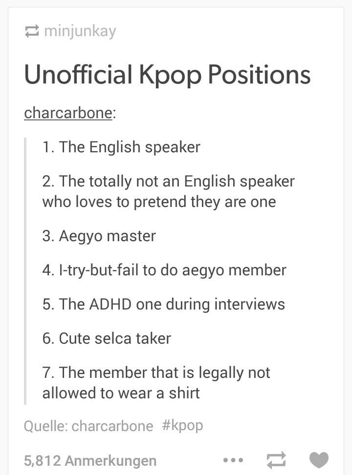 LETS SEE! ill do this in BTS-Rap mon is the absolute english speaker! there u have suga whos the wannabe-english-speaker-that-rlly-thinks-he-can-live-in-america. The aegyo master we all know is Jhope! the fail aegyo master is V for sure with his derp faces. And jimin, with those chocolate abs obviously always sleevless or non at all. Cute selca is most probably our handsome jin!
