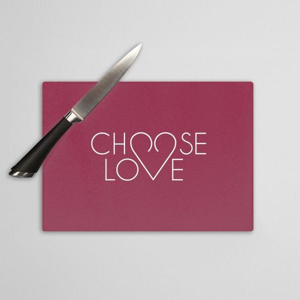 Choose love - szklana deska do krojenia w artiglo na DaWanda.com