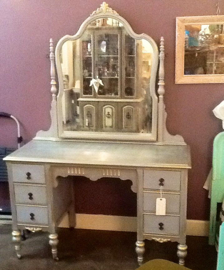 Superior This Antique Vanity Was Painted With Chalk Paint® Decorative Paint By Annie  Sloan In Louis Blue, Accented With Old White. Then A Gilding Wax/mineral  Spirits ...