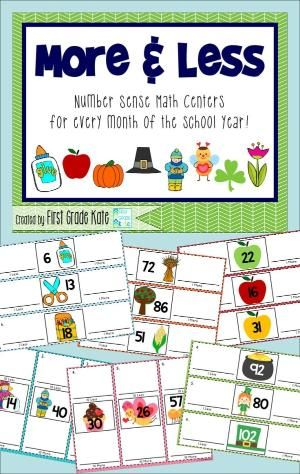 1 more, 1 less and 10 more, 10 less centers for each month of the school year! That's 16 center activities!!  The centers begin with smaller numbers (1-30) and progress in difficulty to incorporate numbers up to 120.  $ by leola