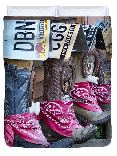 Cowboy Boot Birdhouses Duvet Cover by David Arment