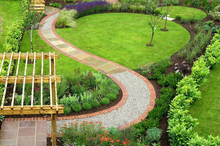 curved lawn with easy path to get to the end of the garden without getting muddy.