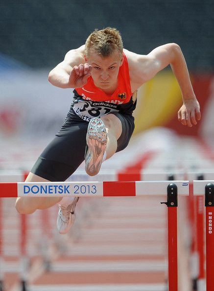 Henrik Hannemann of Germany competes in the Boys 110m Hurdles Round 1 race during Day 2 of the IAAF World Youth Championships at the RSC Olimpiyskiy Stadium on July 11, 2013 in Donetsk, Ukraine.