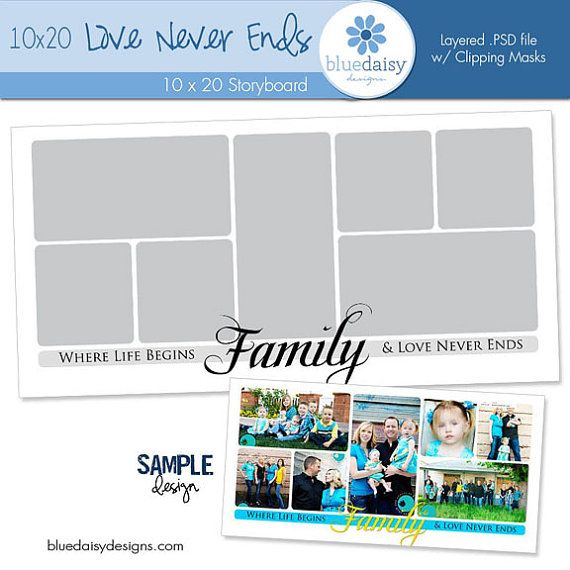 10 x 20 Family Quote Storyboard Photoshop File - Photographer - photography storyboard sample