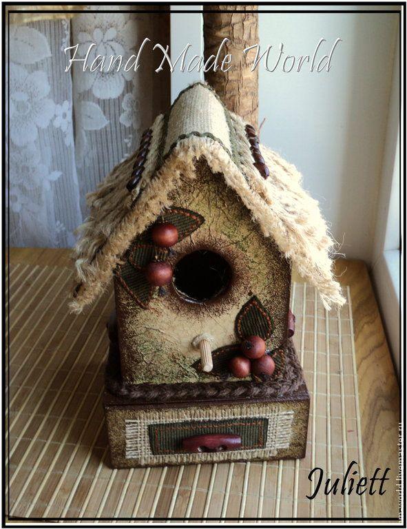 Декоративный скворечник-шкатулка - хаки,коричневый,бежевый,скворечник