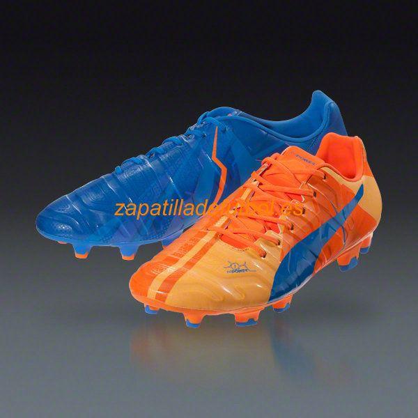 Nuevo Zapatos de Futbol Puma Evopower 1.2 H2H FG Para Terreno Firme Pez Payaso Naranja Azul Electrico De La Limonada