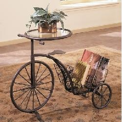 Tricycle Accent Table Magazine Rack with Glass Inset in Antique Rust FinishSide Tables, Antiques Rust, Baby Girls Room, Magazines Racks, Living Room Tables, End Tables, Tricycle Tables, Accent Tables, Dining Tables