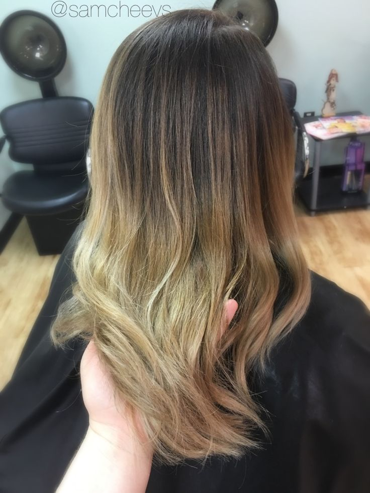 Ombre for dark brown hair  brown roots dirty blonde ends