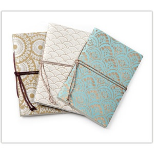 @WorldCrafts {Indian Journal Set ~ Village Artisans ~ India} This set of beautiful handmade paper journals will entice anyone to jot down their thoughts. Made by skilled artisans in India who are still recovering from a 2005 earthquake. Journals come in a set of 3 with 3 different patterns. #fairtrade