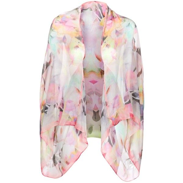 Ted Baker Electric Floral Print Silk Cape, Pink (580 DKK) ❤ liked on Polyvore featuring outerwear, jackets, tops, cardigans, kimonos, pink floral kimono, print kimono, pink cape, pink cape coat and floral print kimono