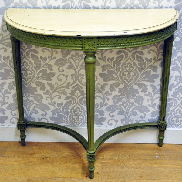 Antique Cream & Green French Style Painted Half Moon Table