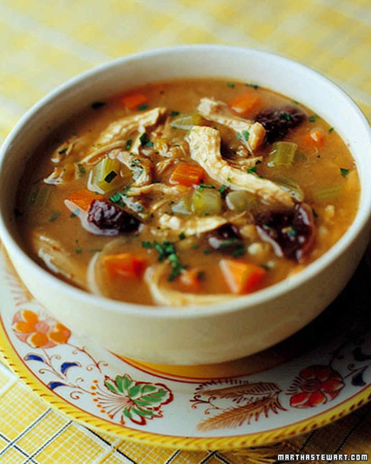 This porridgelike soup has Scottish roots. Barley makes it thick, and prunes give it a slightly sweet note; white wine and vegetables -- including several leeks -- add flavor.