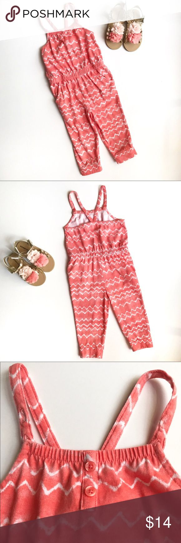 Coral Capri Jumper Coral capri jumper with white cheveron design. Adjustable straps and usable pockets. Old Navy One Pieces