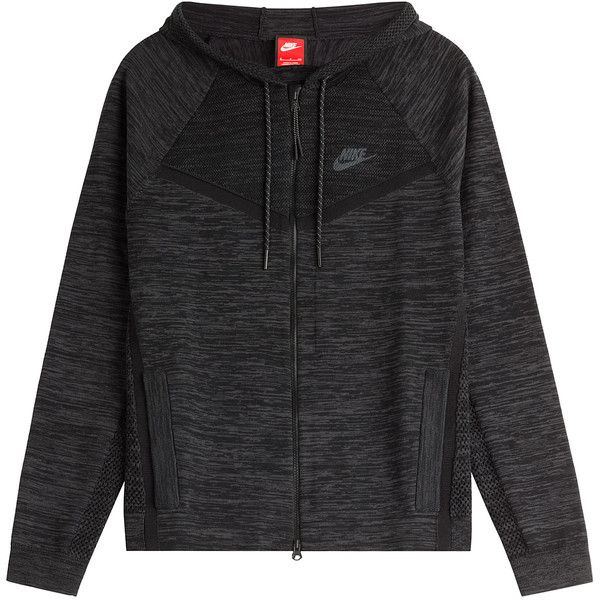 Nike Zipped Cotton Blend Hoodie ($165) ❤ liked on Polyvore featuring tops, hoodies, outerwear, jackets, sweatshirt, black, zip front hoodies, nike hoodie, hooded zip sweatshirt and zip front hooded sweatshirt