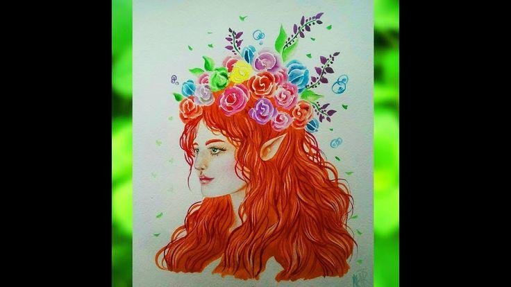 A romantic elf. Watercolor